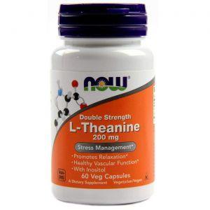 L-Теанин, L-Theanine, двойная сила, Now Foods, 200 мг, 60 кап