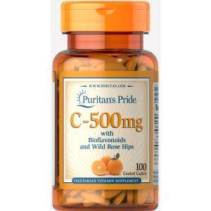 Витамин С и биофлавоноидами, Vitamin C-500 Rose Hips Time, Puritan's Pride, 500 мг, 100 капсул