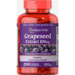 Экстракт виноградной косточки, Grapeseed Extract, Puritan's Pride, 200 капсул