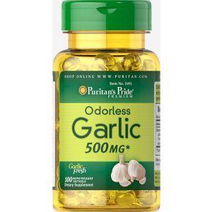 Чеснок, Odorless Garlic, без запаха, 500 мг, 100 капсул