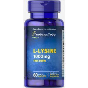 Л-лизин, L-Lysine, Puritan's Pride,1000 mg, 1000 мг, 60 капсул