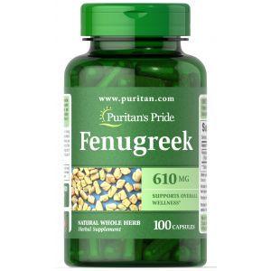 Пажитник, Fenugreek, Puritan's Pride, 610 мг, 100 капсул