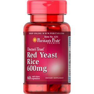 Красный дрожжевой рис, Red Yeast Rice 600 mg, Puritan's Pride, 600 мг, 60 капсул