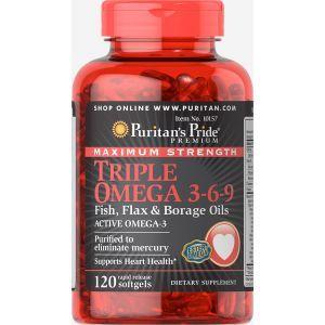 Омега 3-6-9, Omega 3-6-9 Fish, Puritan's Pride, масло льна и бораго, 120 капсул