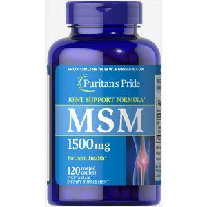 МСМ, Метилсульфонилметан, MSM, Puritan's Pride, 1500 mg, 120 капсул