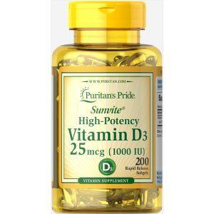 Витамин Д3, Vitamin D3 1000 IU, Puritan's Pride, 200 капсул