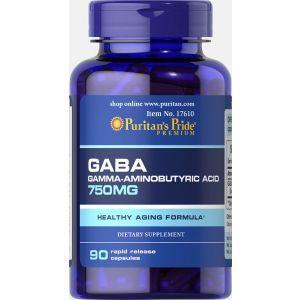 Л-карнитин, GABA (Gamma Aminobutyric Acid), Puritan's Pride, 750 мг, 90 капсул