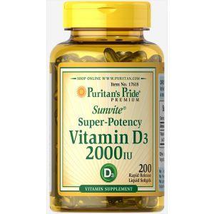 Витамин Д3, Vitamin D3 2000 IU, Puritan's Pride, 200 капсул