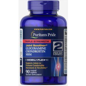 Глюкозамин хондроитин и МСМ, Triple Strength Glucosamine, Chondroitin & MSM, Puritan's Pride, 90 капсул