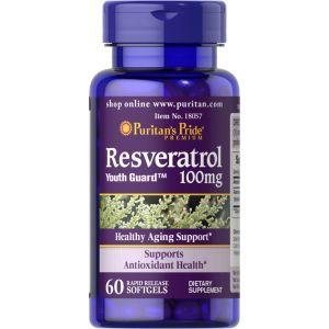 Ресвератрол, Resveratrol, Puritan's Pride, 100 мг, 60 гелевых капсул с быстрым высвобождением