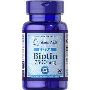 Биотин, Biotin 7500, Puritan's Pride, 7500 мкг, 50 таблеток