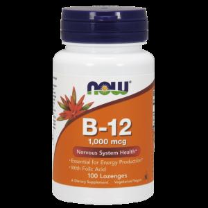 Витамин В12 и фолиевая кислота, Vitamin B-12 Folic Acid, Now Foods, 1000 мкг, 100 конфет