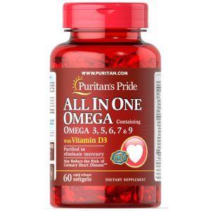 Омега 3-5-6-7-9 и витамин Д3, All In One Omega 3, 5, 6, 7 & 9 with Vitamin D3, Puritan's Pride, 60 капсул