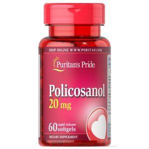 Поликозанол, Policosanol, Puritan's Pride, 20 мг, 60 капсул