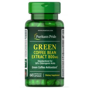 Зеленый кофе, Green Coffee Bean, Puritan's Pride, 800 мг, 60 капсул