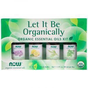 Ефірні масла, Essential Oils Kit, Now Foods, Let It Be Organically, органічні, 4 шт. по 10 мл