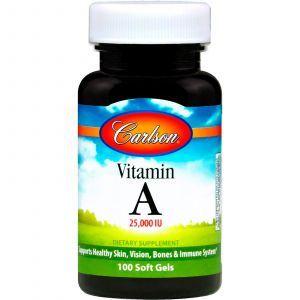 Витамин А, Vitamin A, Carlson Labs, 25 000 МЕ, 100 гелевых капсул