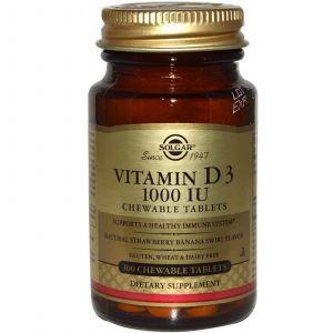Витамин Д3, Solgar, 1000 МЕ, 100 жеват. таб