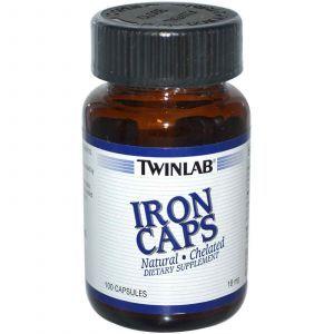 Железо, Twinlab, 18 мг, 100 капсул