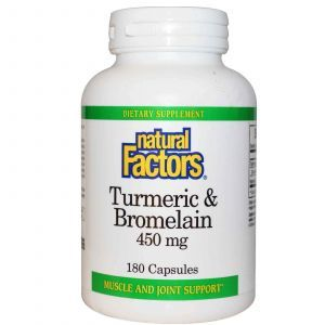Бромелайн и куркума, Natural Factors, 180 капсул