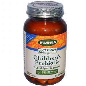 Пробиотики, Flora, для детей, 60 капсу