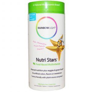 Витамины для детей, Food-Based Multivitamin, Rainbow Light, 120 жеват. табл
