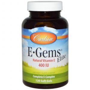 Витамин Е, Carlson Labs, Элит, 400 МЕ, 120 капсул