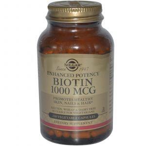 Биотин, Solgar, 1000 мкг, 250 капсул