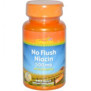 Витамин В3, Thompson, Ниацин, 500 мкг, 30 капсу