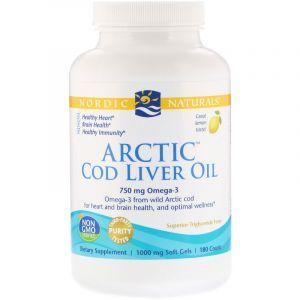 Рыбий жир из печени трески, Cod Liver Oil, Nordic Naturals, лимон, арктический, 1000 мг, 180 капсул (Default)