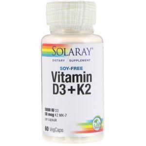 Витамин Д3 и К2, Vitamin D-3 & K-2, Solaray, без сои, 60 капсул (Default)