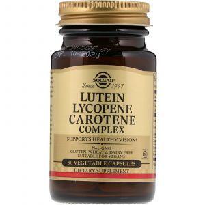 Лютеин, комплекс каротиноидов (Lutein Lycopene Carotene), Solgar, 30 капсул (Default)