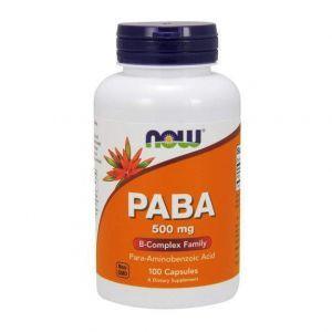 ПАБК (пара-аминобензойная кислота), PABA, Now Foods, 500 мг, 100 ка