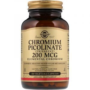 Хром пиколинат, Chromium Picolinate, Solgar, 200 мкг, 180 капсул (Default)