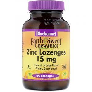 Цинк со вкусом апельсина, Zinc Lozenges, Bluebonnet Nutrition, 15 мг, 60 леденцов (Default)