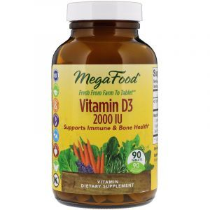 Витамин Д3, Vitamin D3, MegaFood, 2000 МЕ, 90 таблеток (Default)