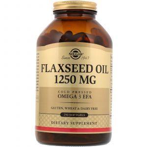 Льняное масло, Flaxseed Oil, Solgar, 1250 мг, 250 гелевых капсул (Default)