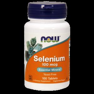 Селен, Selenium, Now Foods, без дрожжей, 100 мкг, 100 таблеток