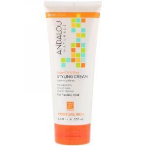 Стайлинг крем для волос (аргана и масло ши), Styling Cream, Andalou Naturals, 200 мл (Default)