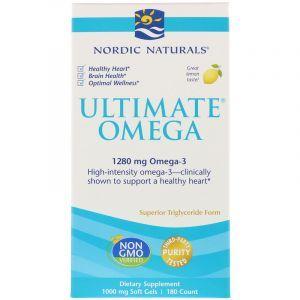 Рыбий жир в капсулах, Ultimate Omega, Nordic Naturals, лимонный вкус, 1000 мг, 180 капсул (Default)