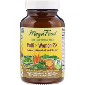 Витамины для женщин без железа, 55+, Multi for Women Over, Mega Food, 60 таблеток (Default)