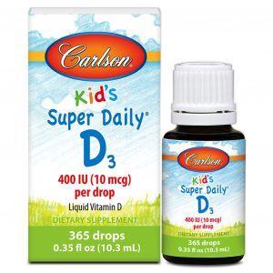 Витамин Д3, Kid's Super Daily D3 Carlson Labs, для детей, 400 МЕ, 10,3 мл