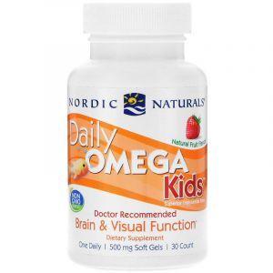 Рыбий жир для детей (фрукты), Daily Omega Kids, Nordic Naturals, 1 в день, 500 мг, 30 капсул (Default)