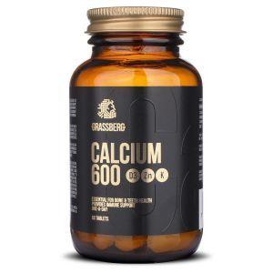 Кальцій з вітамінами D3, K1 і цинком, Calcium 600, Grassberg, 60 таблеток