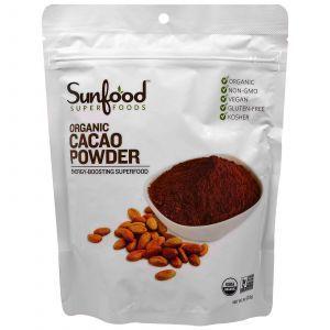 Какао порошок, Cacao Powder, Sunfood 227 г