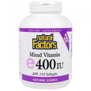 Витамин Е, Mixed E, Natural Factors, 400 МЕ, 240 капсул (Default)