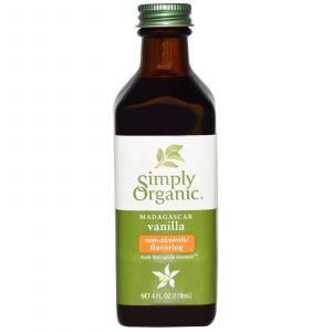 Ванильный ароматизатор без спирата, Vanilla Flavoring, Simply Organic, 118 мл