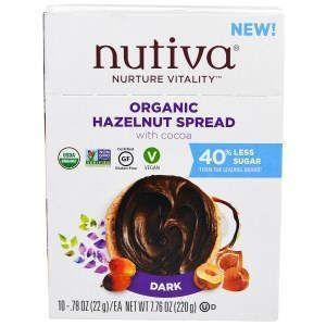 Ореховая закуска, Hazelnut Spread, Nutiva, 10 пакетов по 22 г