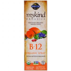 Витамин В-12, B-12 Organic Spray, Garden of Life, вкус малина, 58 мл