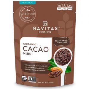 Какао бобы, кусочками, Cacao Nibs, Navitas Naturals, органик, 454 г